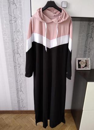 Платье худи в спортивном стиле с капюшоном 3хл