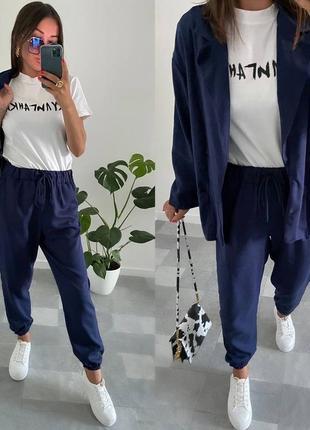 Женские костюм рубашка и брюки лён бенгалин
