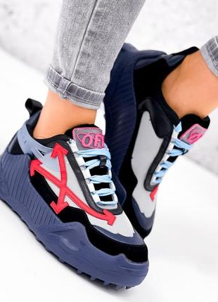 Женские кроссовки синий чёрный красный