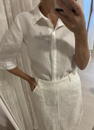 Рубашка белая хлопковая льняная рами рубашка укороченая