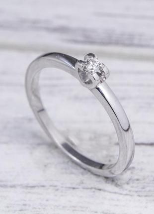 Серебряное кольцо с бриллиантом 03b