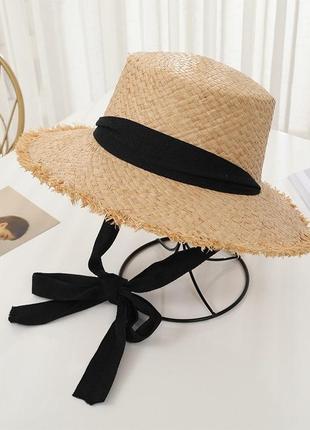 Соломенная шляпа шляпка с завязками солом'яна с черной чёрной лентой модная крутая