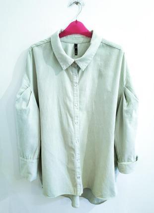 Рубашка куртка с объемными рукавами вельветовая zara
