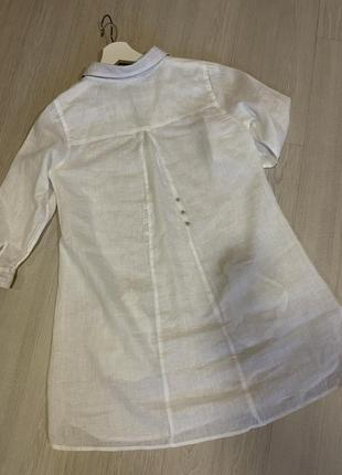 Рубашка блуза туника белая льняная хлопковая