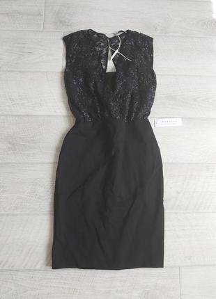 Чёрное вечернее миди платье на запах с пайетками