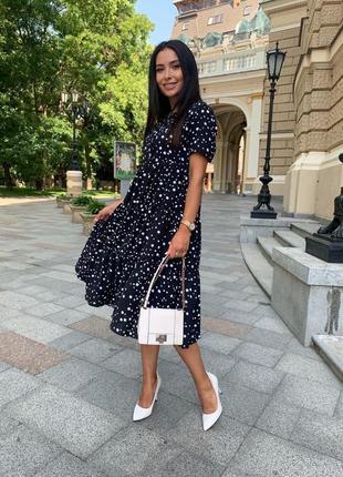 Платье женское батал летнее легкое миди длинное ниже колена белое черное