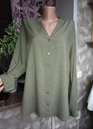 Вискозная рубашка милитари хаки