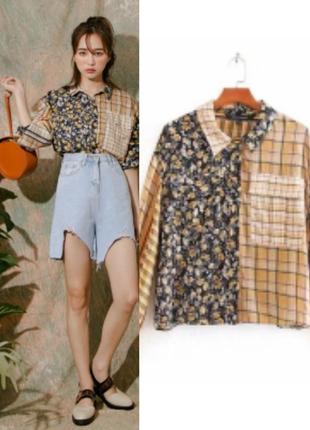 Рубашка блуза с накладными карманами, комбинированный принт, длинный рукав на манжете zara
