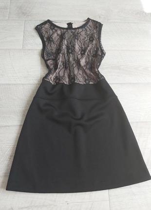 Платье сарафан mango трапеция чёрное