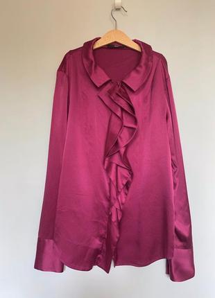 Рубашка hugo boss цвета фуксии , натуральный шелк !