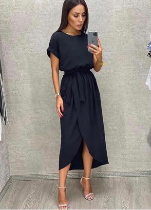 Платье женское батал летнее легкое миди длинное ниже колена с поясом черное