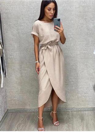 Платье женское батал летнее легкое миди длинное ниже колена с поясом бежевое