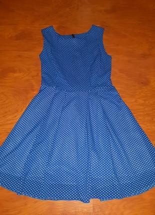 Платье синее в белый горошек