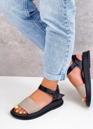 Кожаные босоножки женские натуральная кожа черные босоніжки жіночі шкіряні сандалі чорні  распродажа