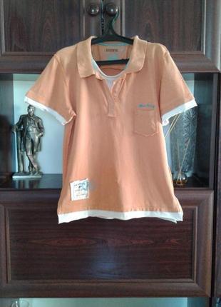 Оранжевая хлопковая винтажная футболка backswing