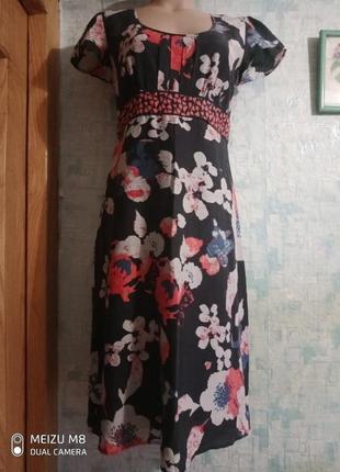 Летнее  легенькое платье (хлопок,шелк) р.44