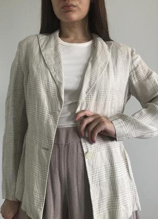 Новый льняной пиджак в клетку, 100% лён3 фото