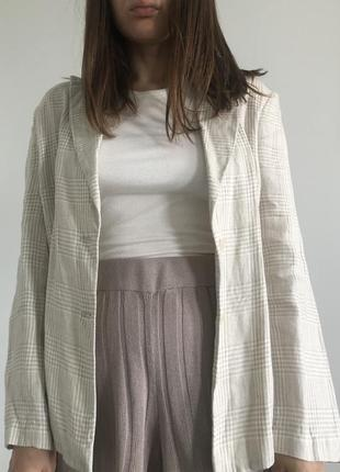 Новый льняной пиджак в клетку, 100% лён2 фото