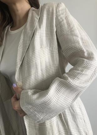 Новый льняной пиджак в клетку, 100% лён4 фото