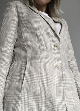 Новый льняной пиджак в клетку, 100% лён6 фото