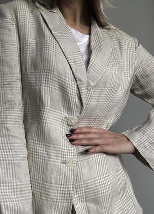 Новый льняной пиджак в клетку, 100% лён5 фото