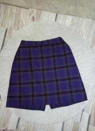 Фиолетовая юбка в клетку аниме высокая посадка юбка в стиле аниме спідниця в клітинку аніме висока