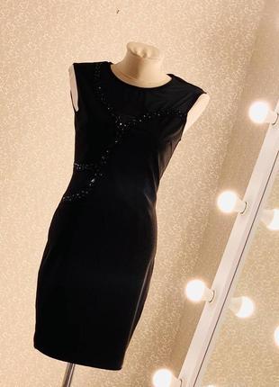 Шикарное чёрное платье футляр с сеточкой