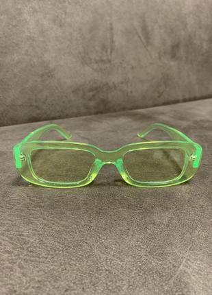 Крутые неоновые имиджевые солнцезащитные прямоугольные очки