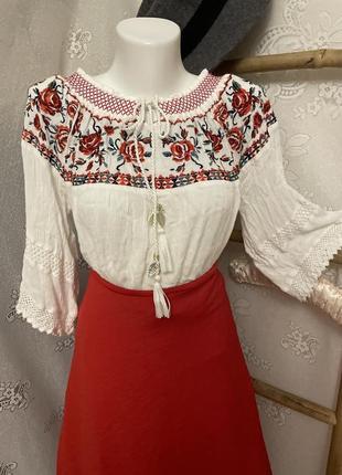 Блуза рубашка вышиванка белая этно бохо стиль
