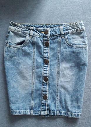 Супер джинсовая юбка на пуговицах