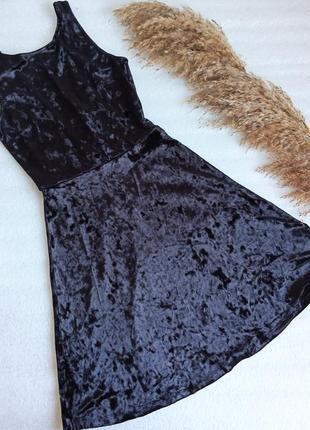 ✨неперевершена ,бархатна , чорна сукня велюр із відкритою спинкою на мініатюрну дівчину або підлітка , платье ✨