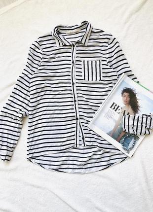 Базовая мягкая рубашка в полоску h&m из вискозы