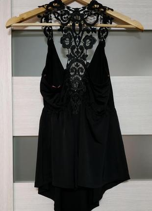 Блузка с кружевной спинкой черная вискоза3 фото