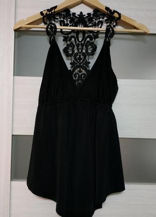 Блузка с кружевной спинкой черная вискоза1 фото