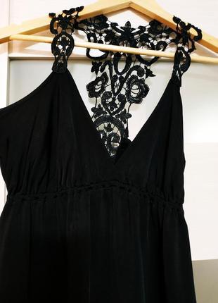 Блузка с кружевной спинкой черная вискоза2 фото