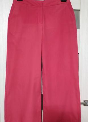 Свободные широкие штаны брюки с карманами розовые большой размер