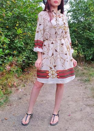 Новое с биркой фирменное лёгкое женское платье с принтом цепи шифоновое женское платье на пуговицах бежевое женское платье из шифона