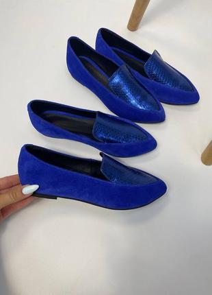 Эксклюзивные балетки из натуральной итальянской кожи и замша синие электрик