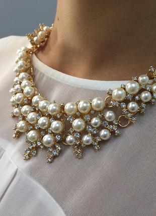 Ожерелье колье прозрачные камни и жемчуг