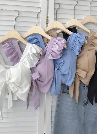 Женская укороченная блузка, кроп-блуза, топ