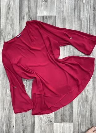 Малиновая блуза с запахом батал 20-22рр