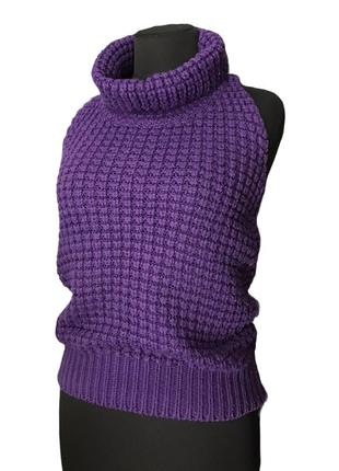 Фиолетовая безрукавка жилет вязаный крупная вязка яркая с воротом black & white bear