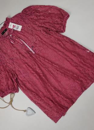 Блуза новая изящная кружево гипюр f&f uk 16/44/xl
