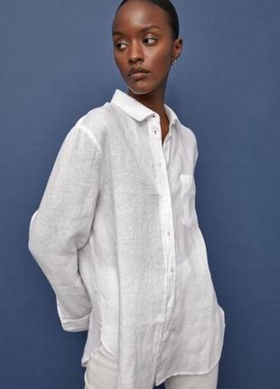 Льняная рубашка hm premium xs