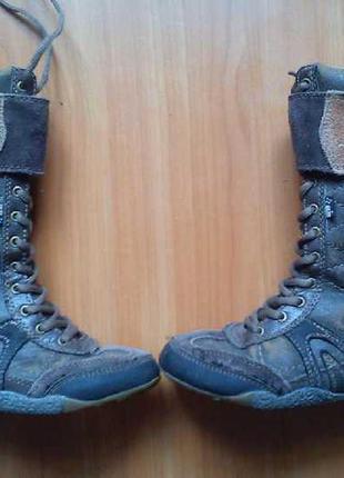 Кожаные высокие ботинки на шнуровке  kangol footwear / 30 размер