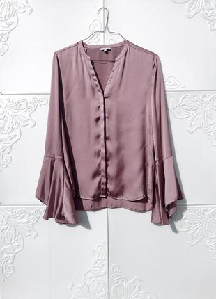 Блуза из сатина с расклешённым рукавом бледно сиренево розовая moddison