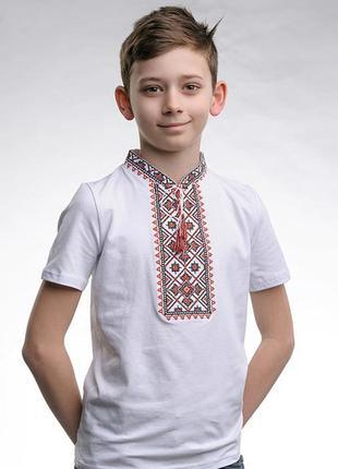 Вышитая футболка вышиванка для мальчика с коротким рукавом «звездное сияние (красная вышивка)»