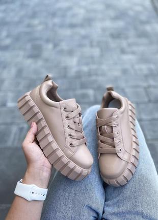 Кросівки еко шкіра колір бежевий 36 розмір