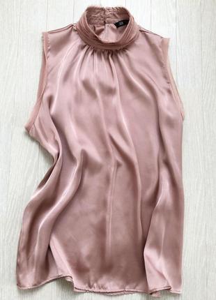 Атласный топ блузка zara пудрового цвета