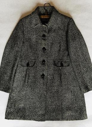 Пальто шерсть акрил чёрный белый от autonomy весна осень